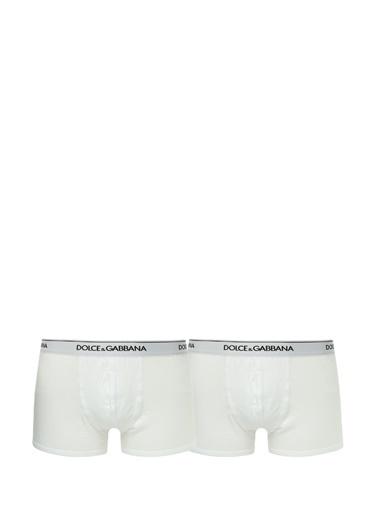 Dolce&Gabbana Dolce&Gabbana  Logolu 2li Boxer Seti 101479518 Beyaz